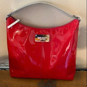 Kate Spade Patent Leather Hobo Bag Red